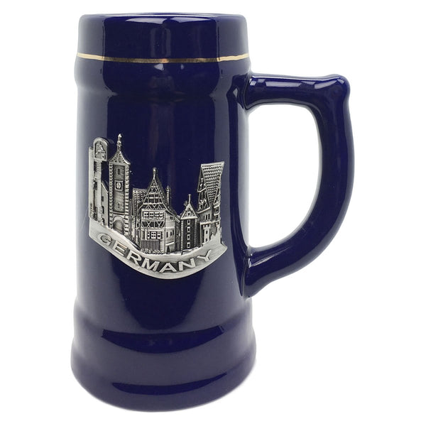 German Village Beer Mug .75L Cobalt Blue Medallion Stein