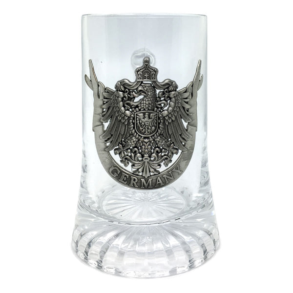 German Drinking Glass Stein .5L German Eagle Metal Medallion