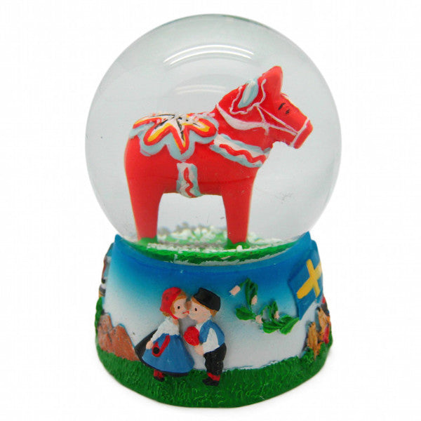 Dala Horse Snow Globe Red