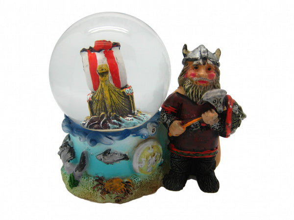 european snow globes norwegian viking man