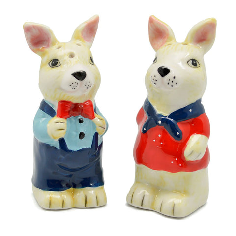 Animal Salt and Pepper Shakers Rabbits Basket