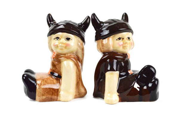Ceramic Salt and Pepper Shakers Viking Boy/Girl