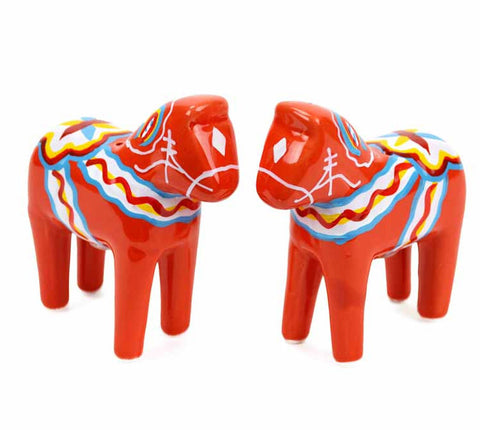 Salt and Pepper Shakers Dala Horse Red