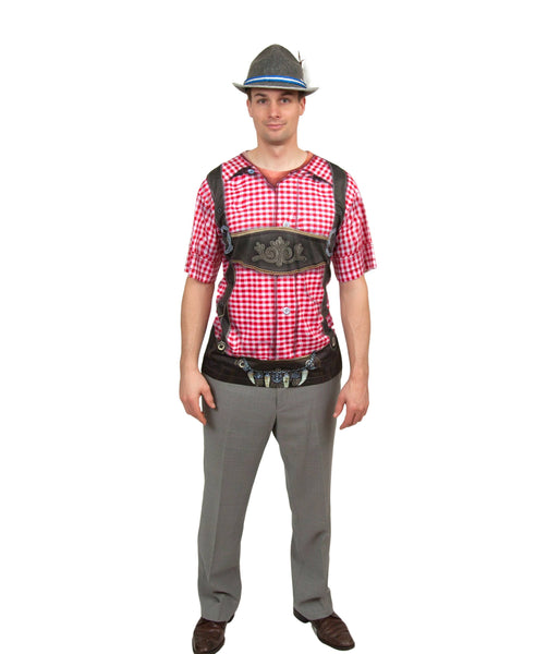 Realistic Faux German Costume Lederhosen Red Shirt