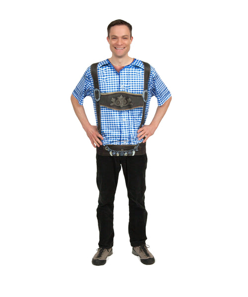 Realistic Faux German Costume Lederhosen Blue Shirt