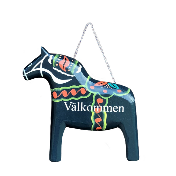Blue Wooden Dala Horse Welcome Sign