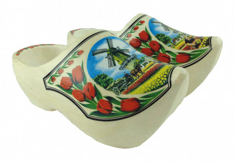 Decorative Shoe Clogs w/ Windmill and Tulips Design-4.25