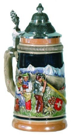 Swiss Alpine Horn Blower German Beer Stein 0.25 Liter