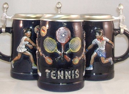 Tennis German Beer Stein with Flat Pewter Lid 0.5 Liter