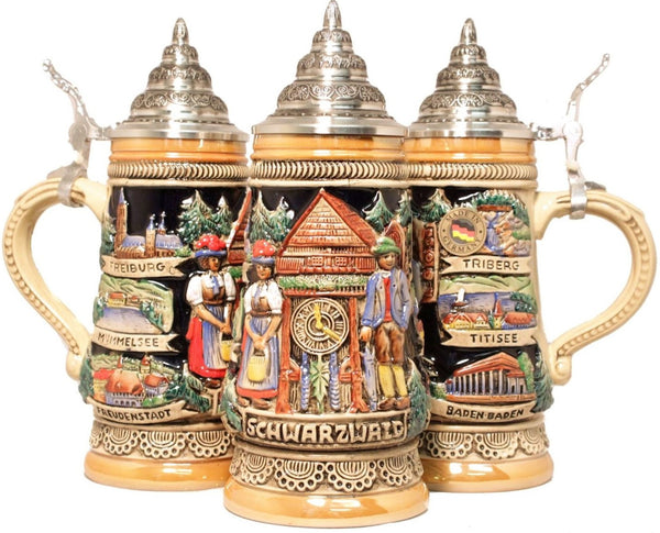 Black Forest Cuckoo Clock Peddler German Stein 0.5 Liter