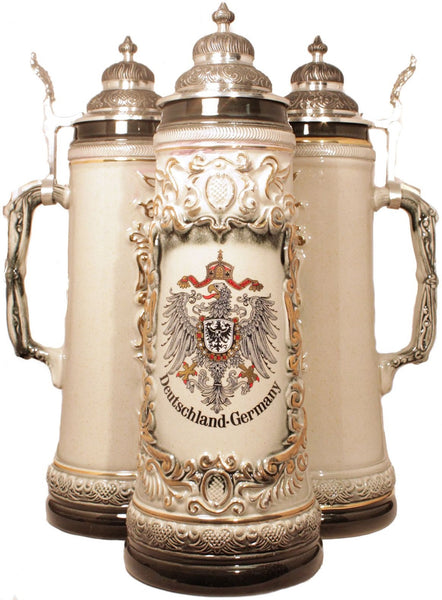 2 Liter Deutschland Eagle Gold Relief German Stein