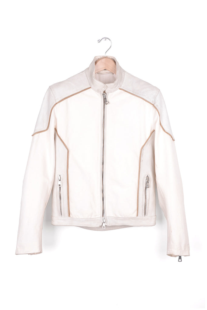 2005 S/S WHITE DIRTY BIKER JACKET IN LEATHER AND CANVAS
