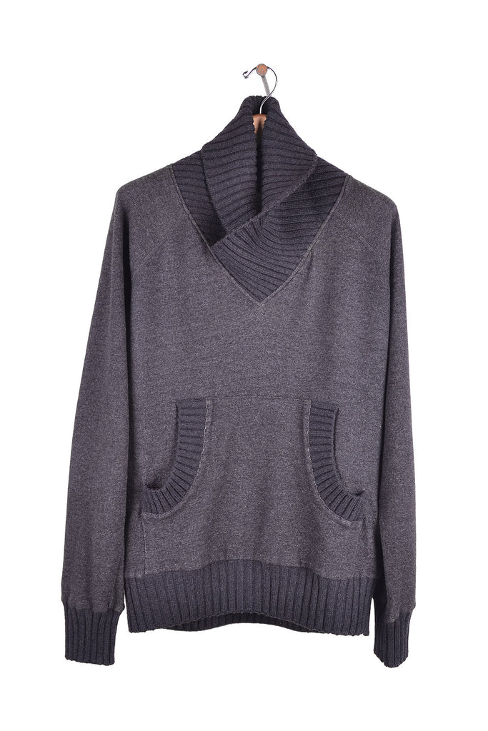 2007 A/W SHAWL COLLAR SWEATER WITH FRONT KANGAROO POCKETS