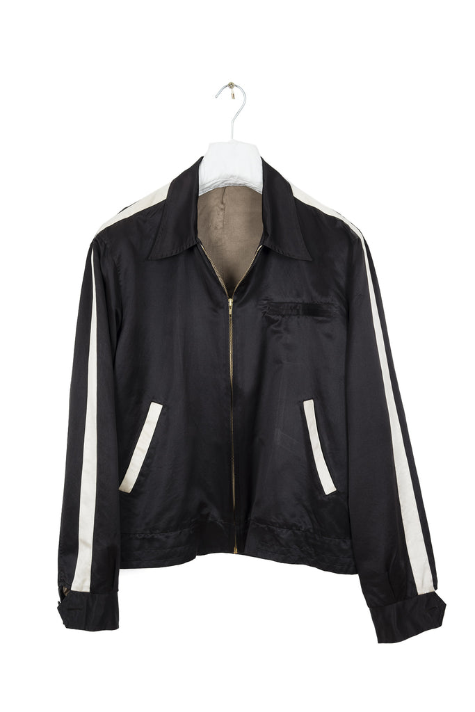 2001 S/S ZIPPED BLOUSON WITH CONTRASTING STRIPES IN SILK AND COTTON
