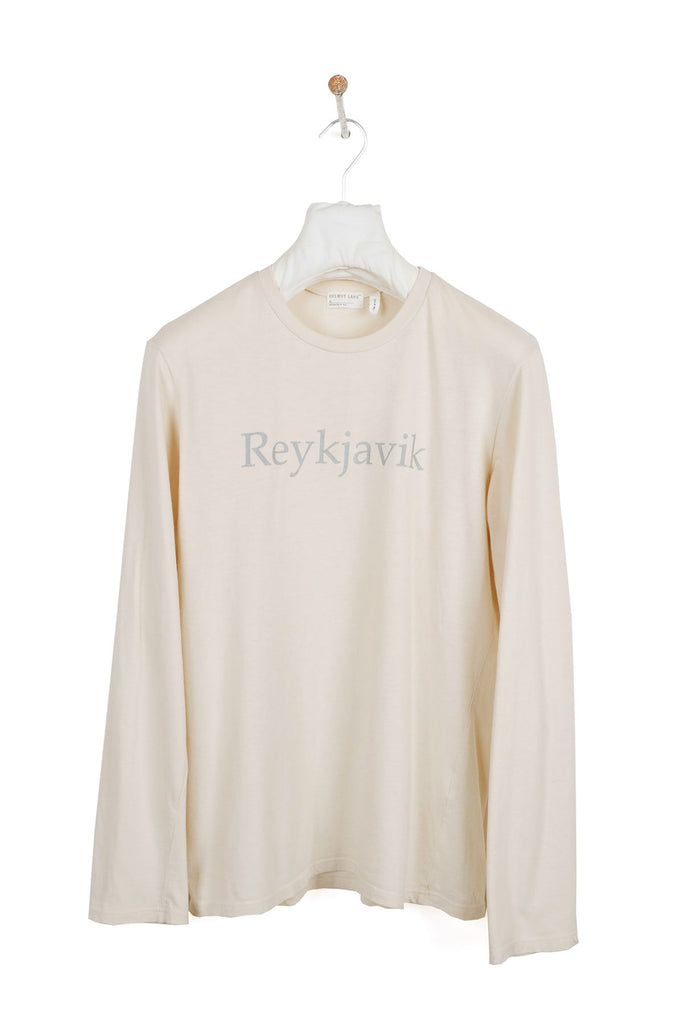 "1998 S/S LONG-SLEEVE TOP WITH REFLECTIVE ""REYKJAVIK"" TYPOGRAPHY AND BRANDING"