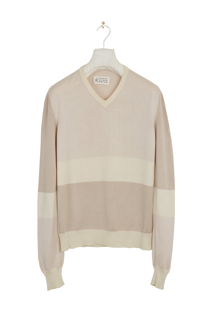 2007 S/S TRICOLOUR COTTON V-NECK SWEATER