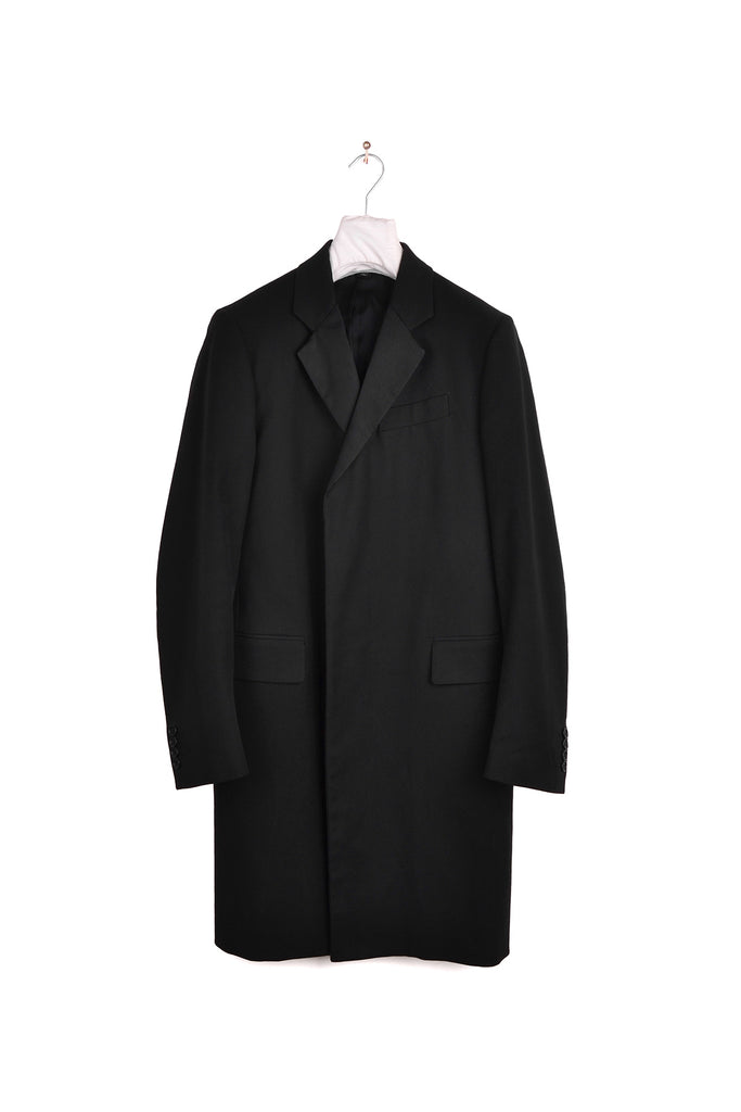 2001 S/S EVENING CHESTERFIELD CANVAS COAT WITH SATIN LAPELS