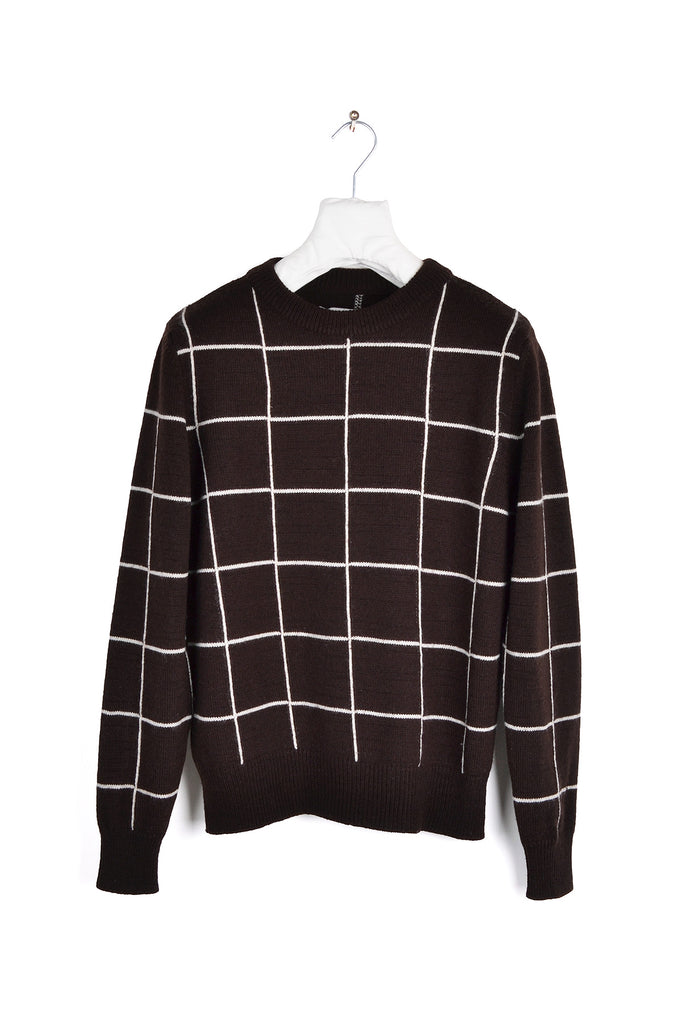2002 A/W WINDOWPANE CHECK WOOL SWEATER BY MISS DEANNA