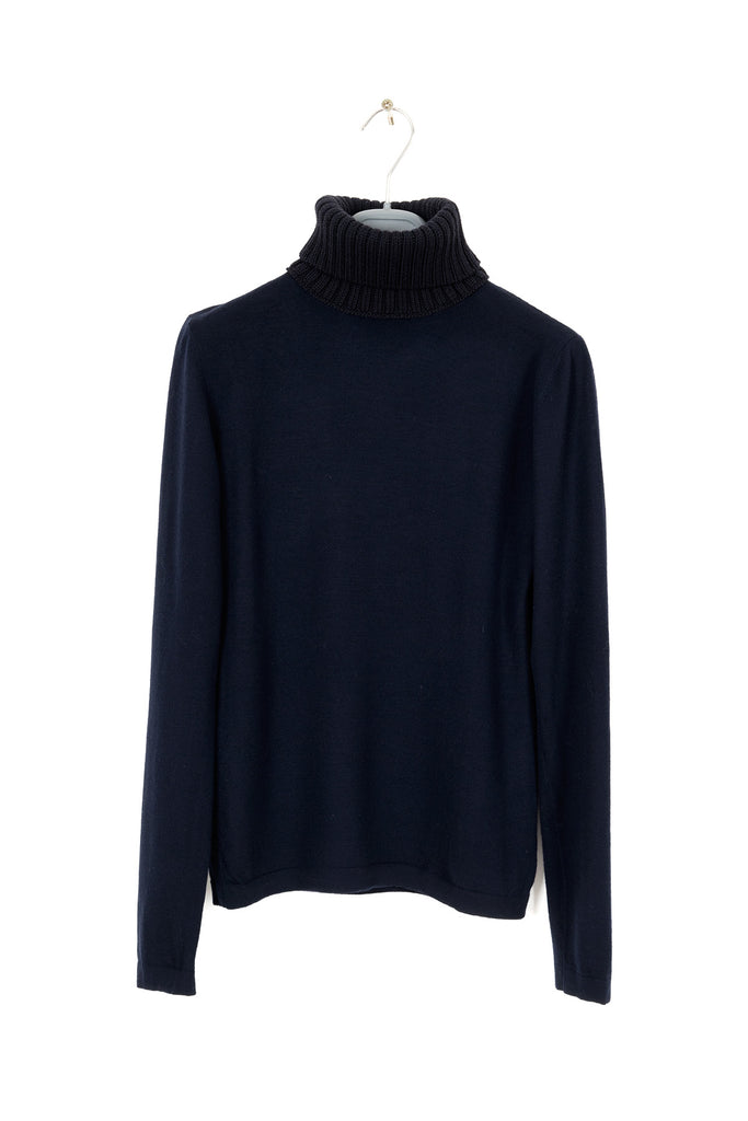 2004 A/W NAVY BLUE SWEATER WITH CONTRASTING HEAVY WOOL HIGH-NECK COLLAR