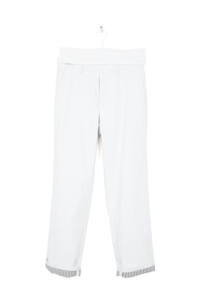 2012 S/S WHITE COTTON TROUSERS IN DOUBLE LAYERED COTTON