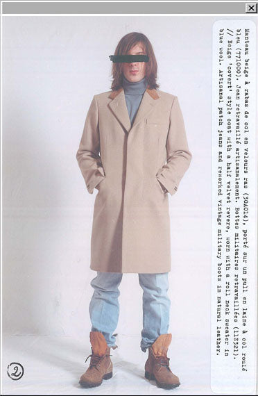 "2002 A/W ""COVERT"" STYLE COAT WITH A HAIR VELVET REVERS"