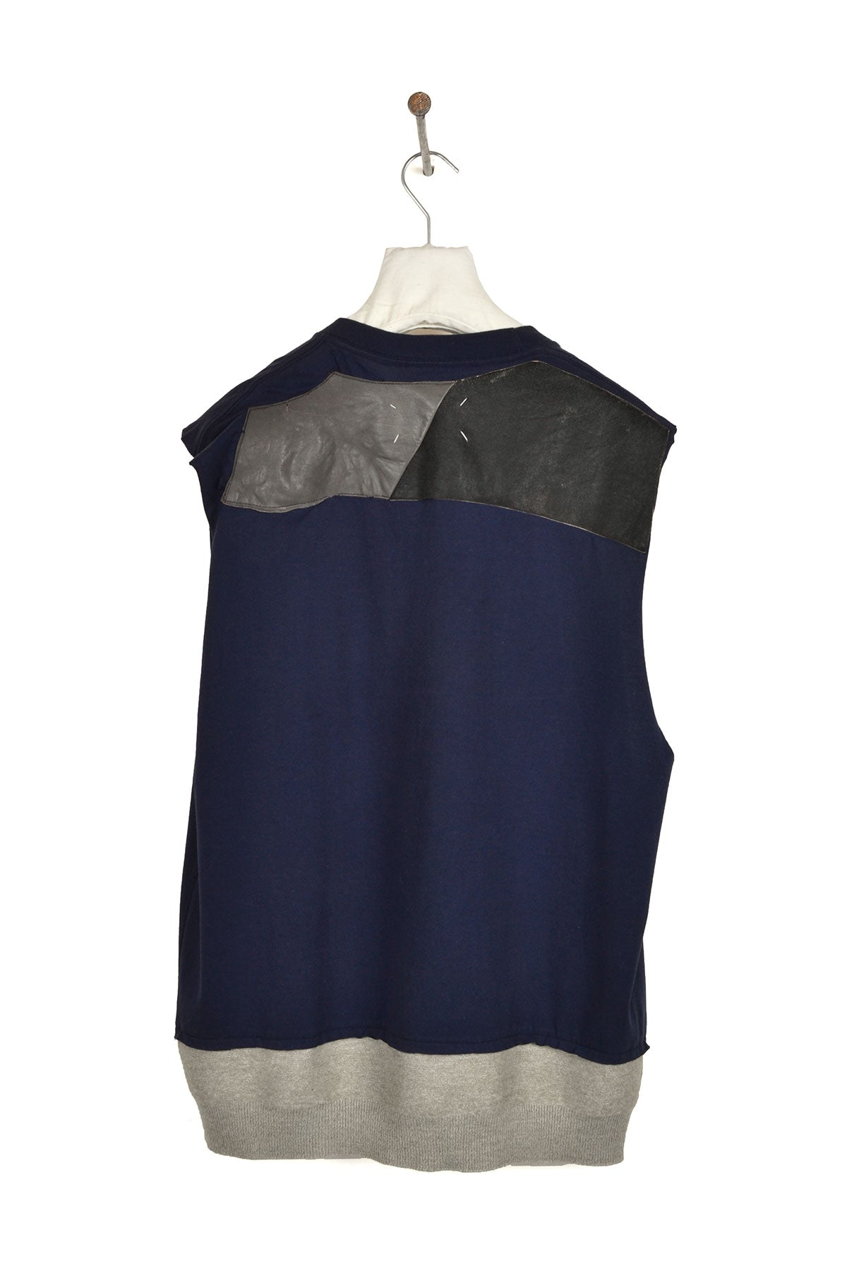 2004 S/S ARTISANAL RE-ASSEMBLED SLEEVELESS TOP WITH LEATHER PATCHES