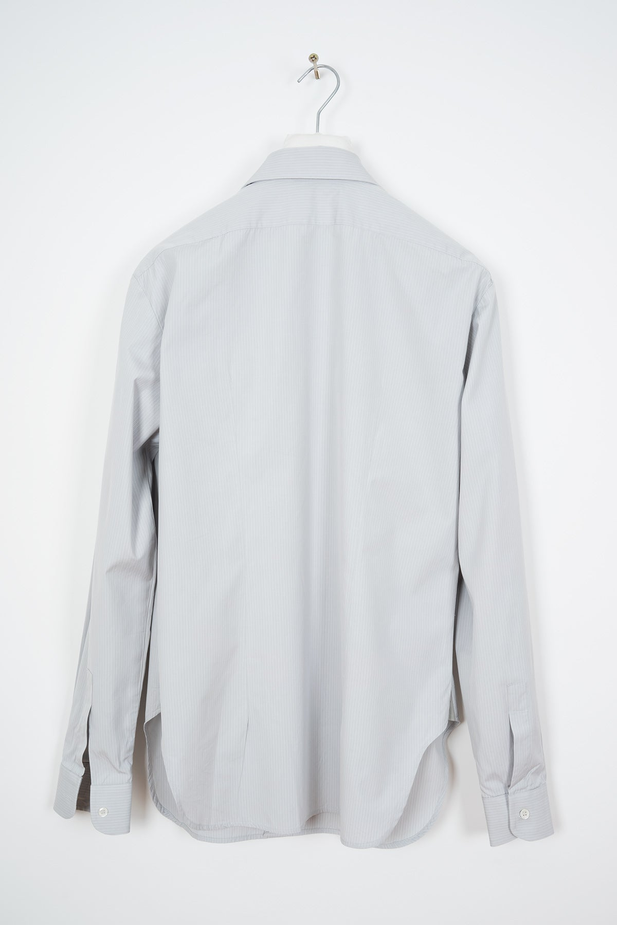 2002 A/W PINSTRIPE GREY BUTTON-DOWN SHIRT WITH 70s ROUND COLLAR