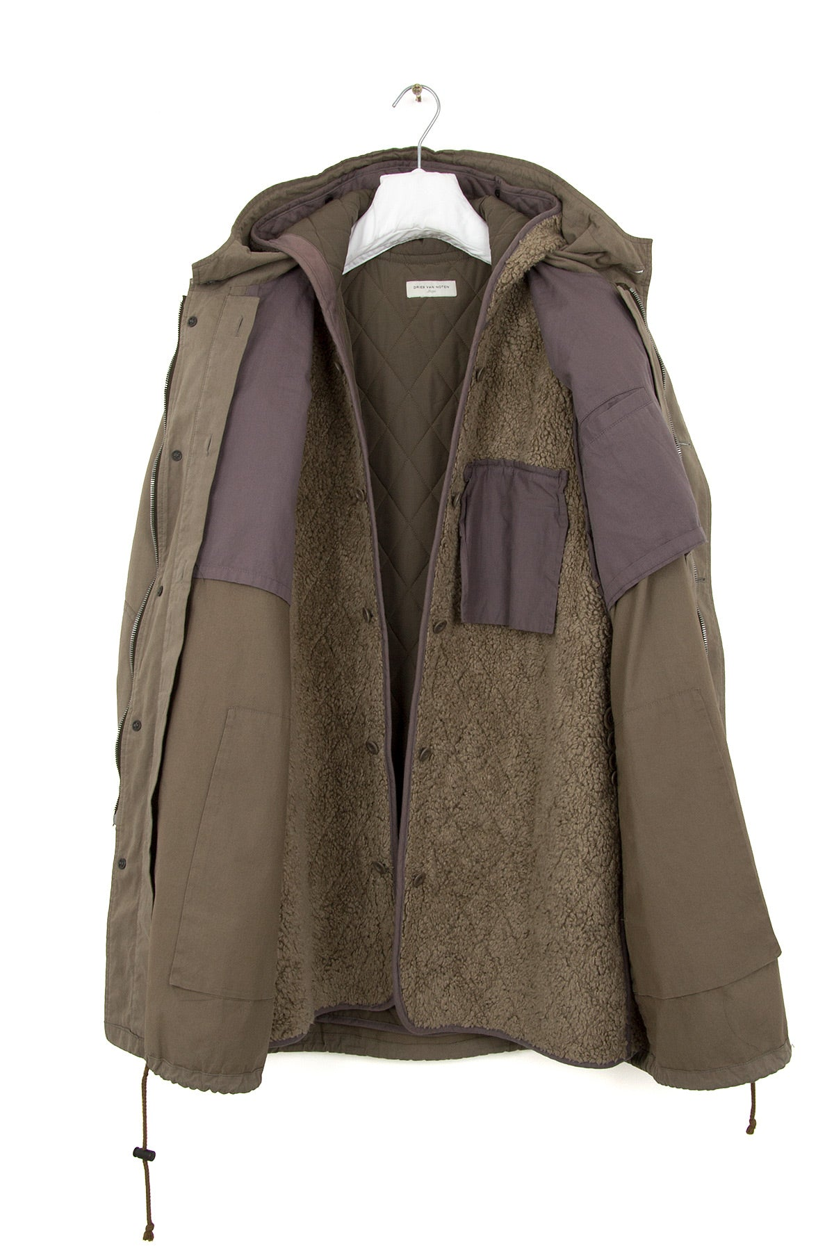 2004 A/W COATED COTTON MILITARY PARKA WITH SHERPA LINING