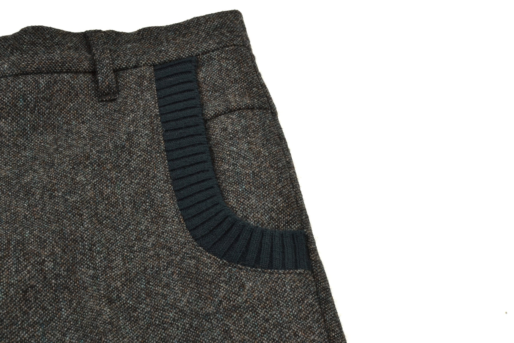 2007 A/W TROUSERS IN TWEED WOOL WITH KNIT INSERTS
