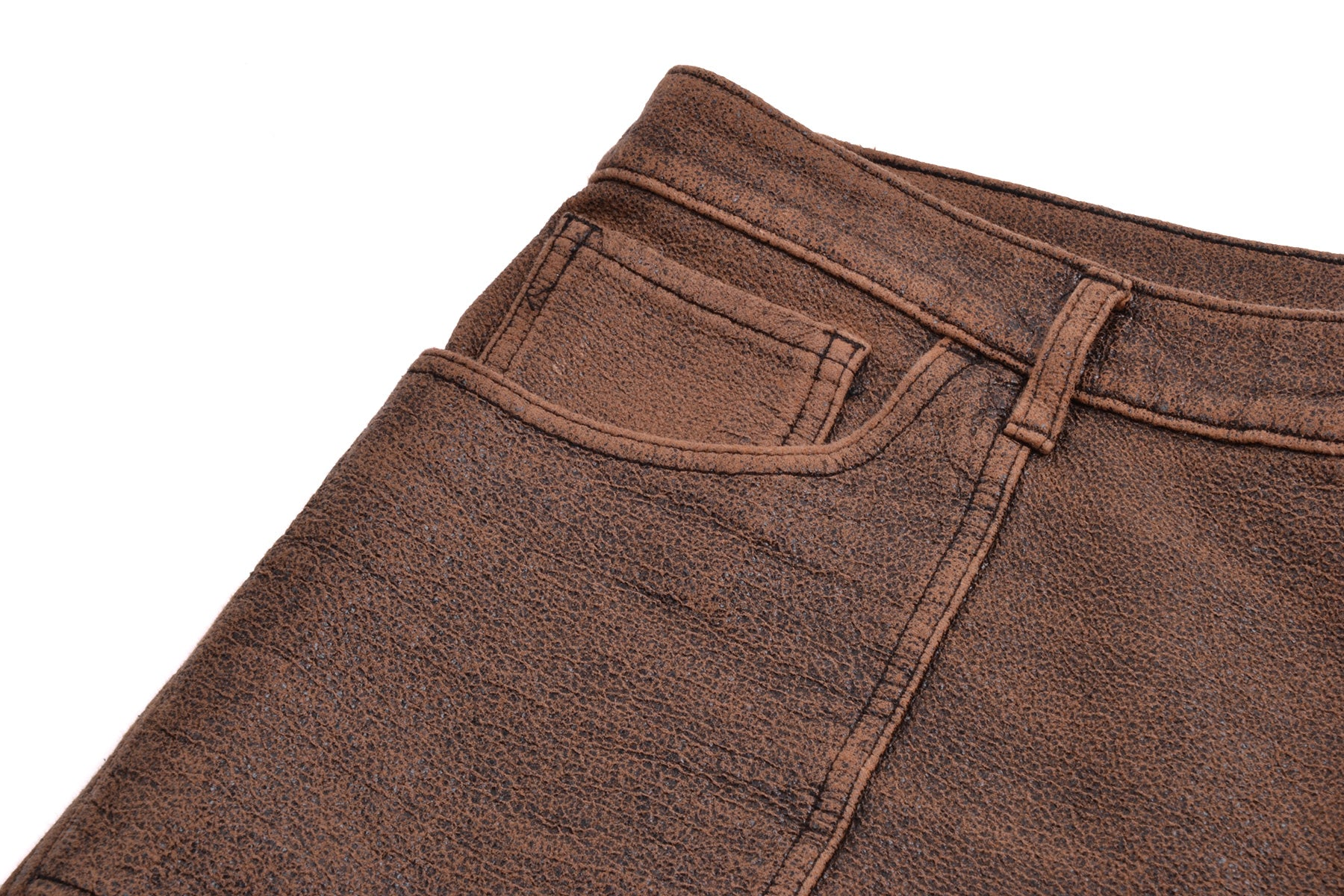 1999 A/W SIMULATED LEATHER BROWN JEANS