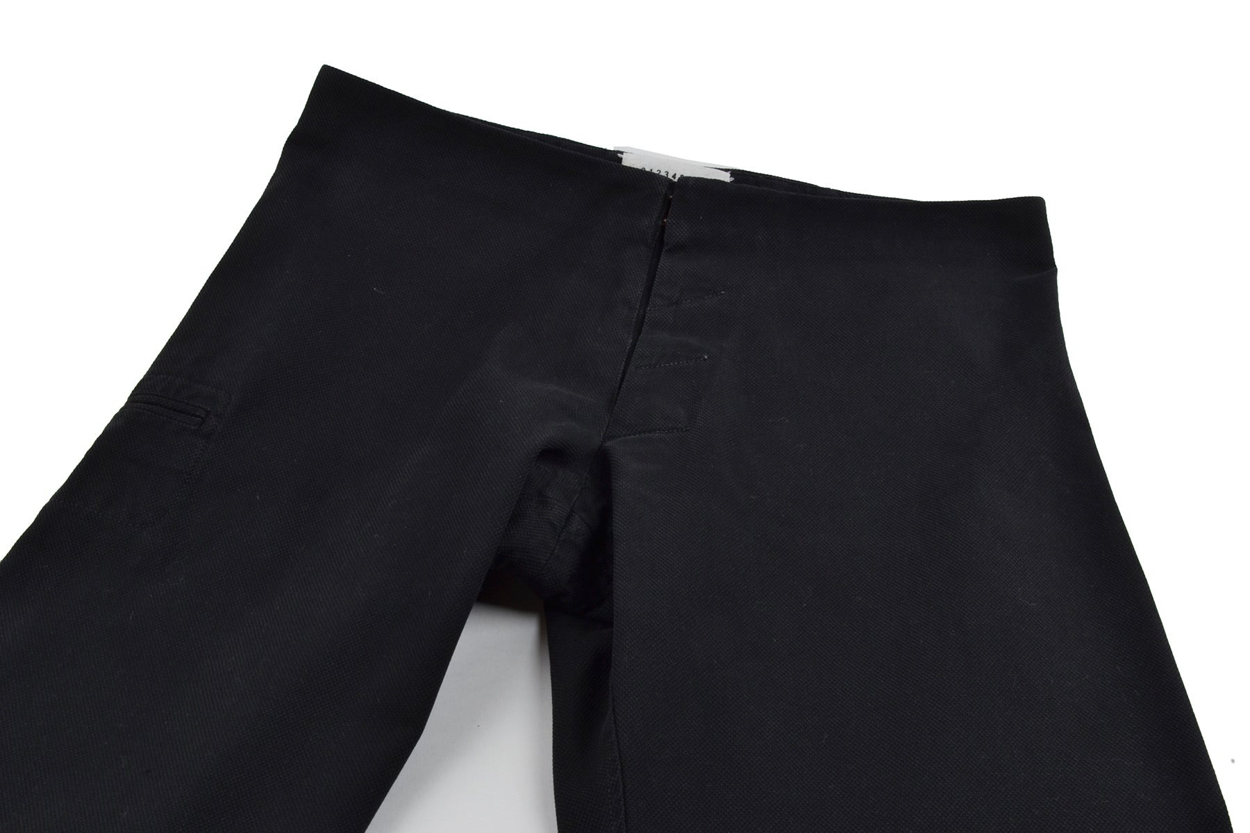 2006 A/W MCQUEEN ANATOMICAL PIQUE COTTON BLACK TROUSERS WITH SILESIA POCKET