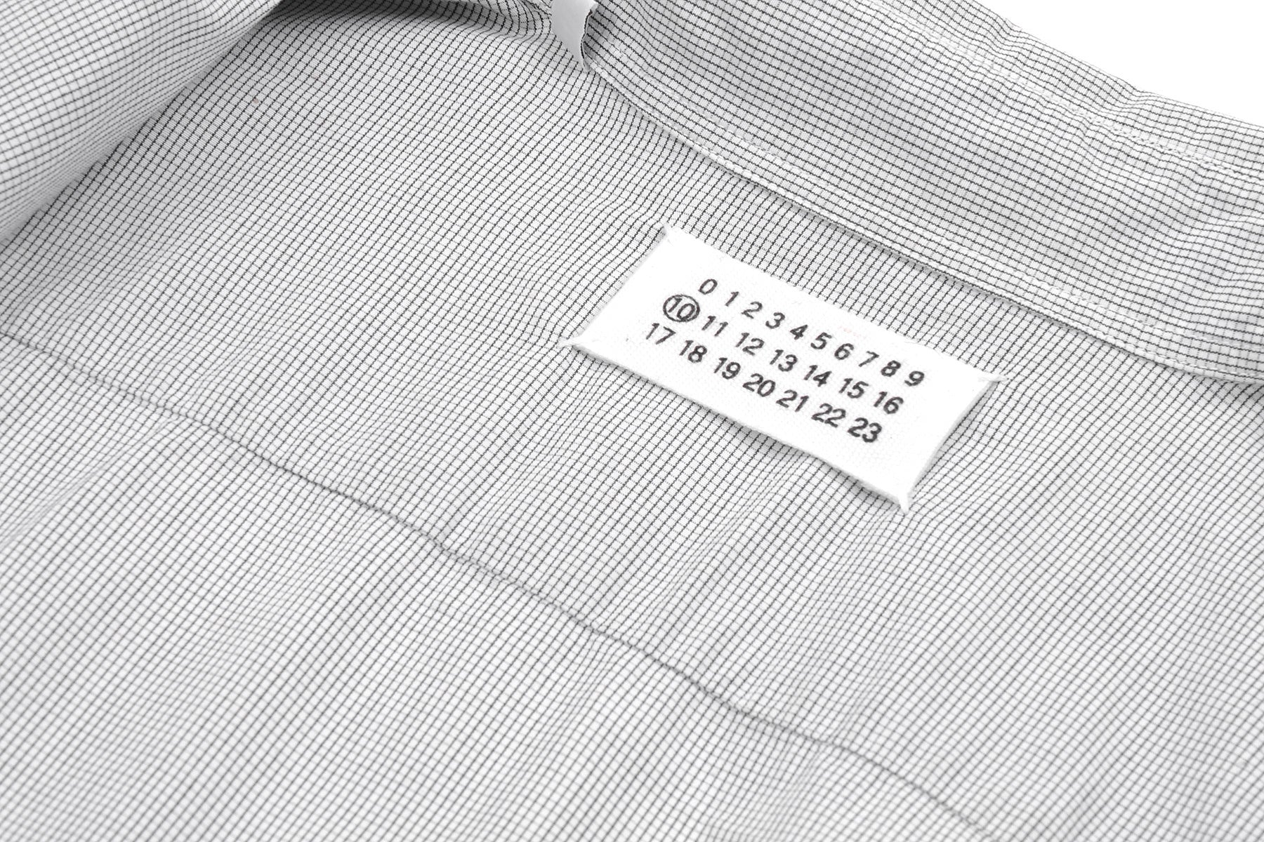 2004 S/S DECONSTRUCTED MICRO CHECK SHIRT WITH CUT-OUT POCKET