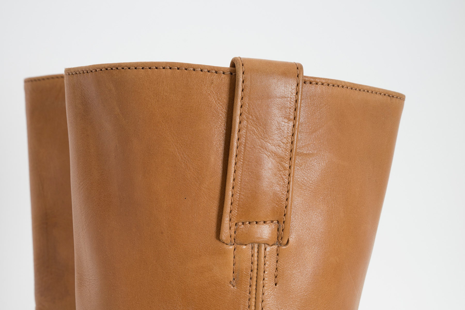 2004 A/W SQUARE TOE TAN LEATHER BIKER BOOTS