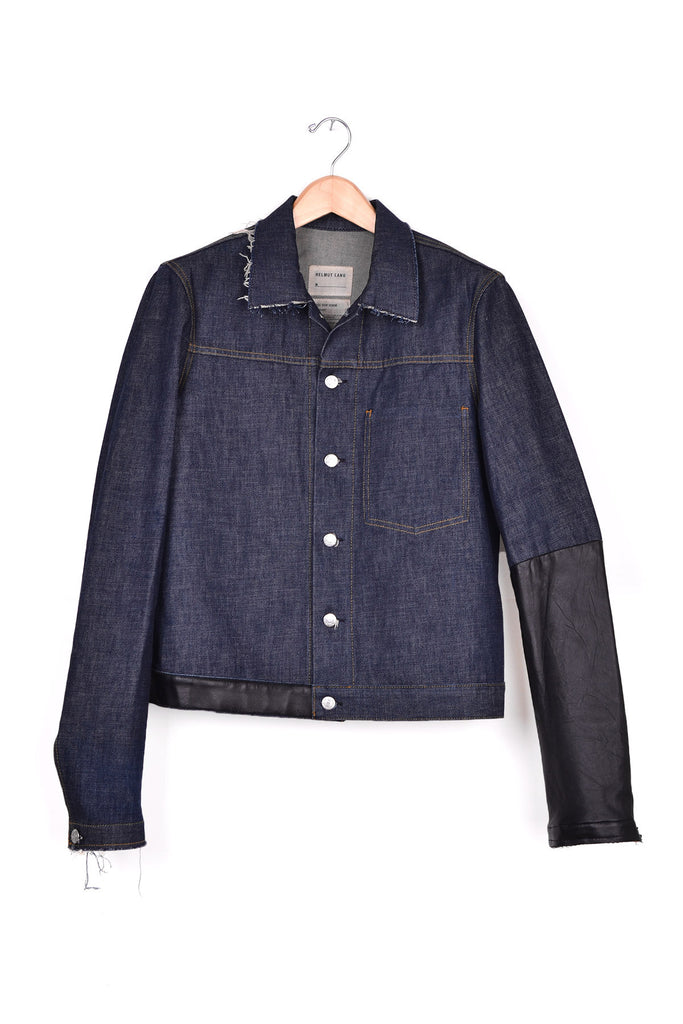 2003 S/S SLIM 1-POCKET INDIGO DENIM JACKET WITH ASSYMETRICAL LEATHER APPLICATIONS