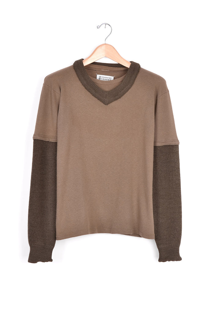 2003 A/W ARTISANAL MILITARY GREEN T-SHIRT AND KNIT HYBRID
