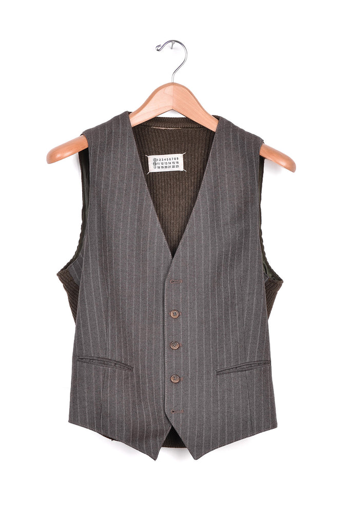 2003 A/W ARTISANAL WAISTCOAT WITH BACK PANEL REASSEMBLED FROM MILITARY SWEATER