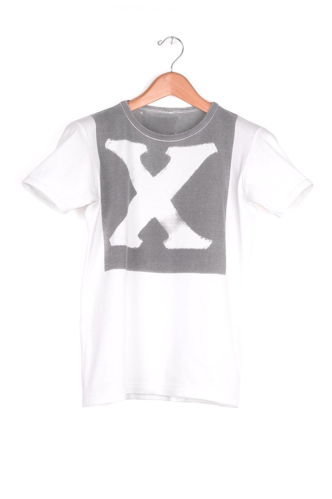 "2001 S/S ARTISANAL TUBULAR T-SHIRT WITH TRANSFER ""X"" PRINT"