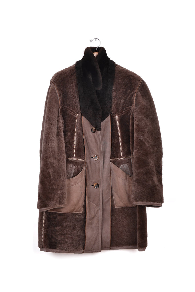 2002 A/W ARTISANAL SHEEPSKIN COAT REWORKED TO BE WORN INSIDE-OUT