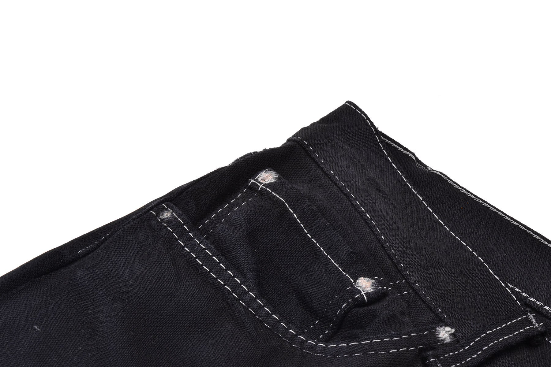 2002 A/W ARTISANAL REWORKED JEANS WITH LEATHER INSERTS