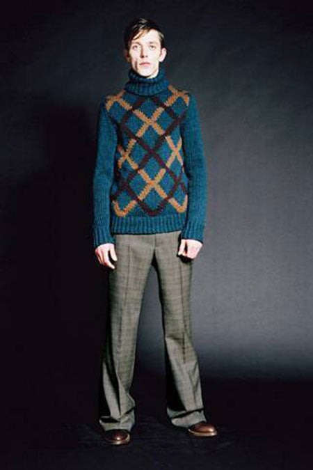2005 A/W HEAVY WOOL INTARSIA HIGH-NECK SWEATER