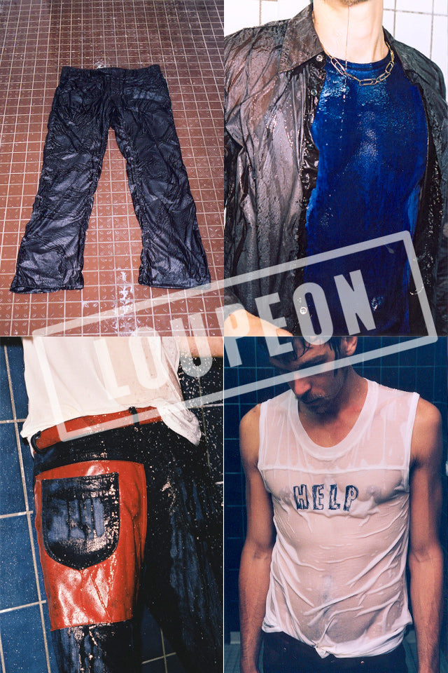 "2006 S/S ""WET"" TROUSERS IN RESINATED COTTON"