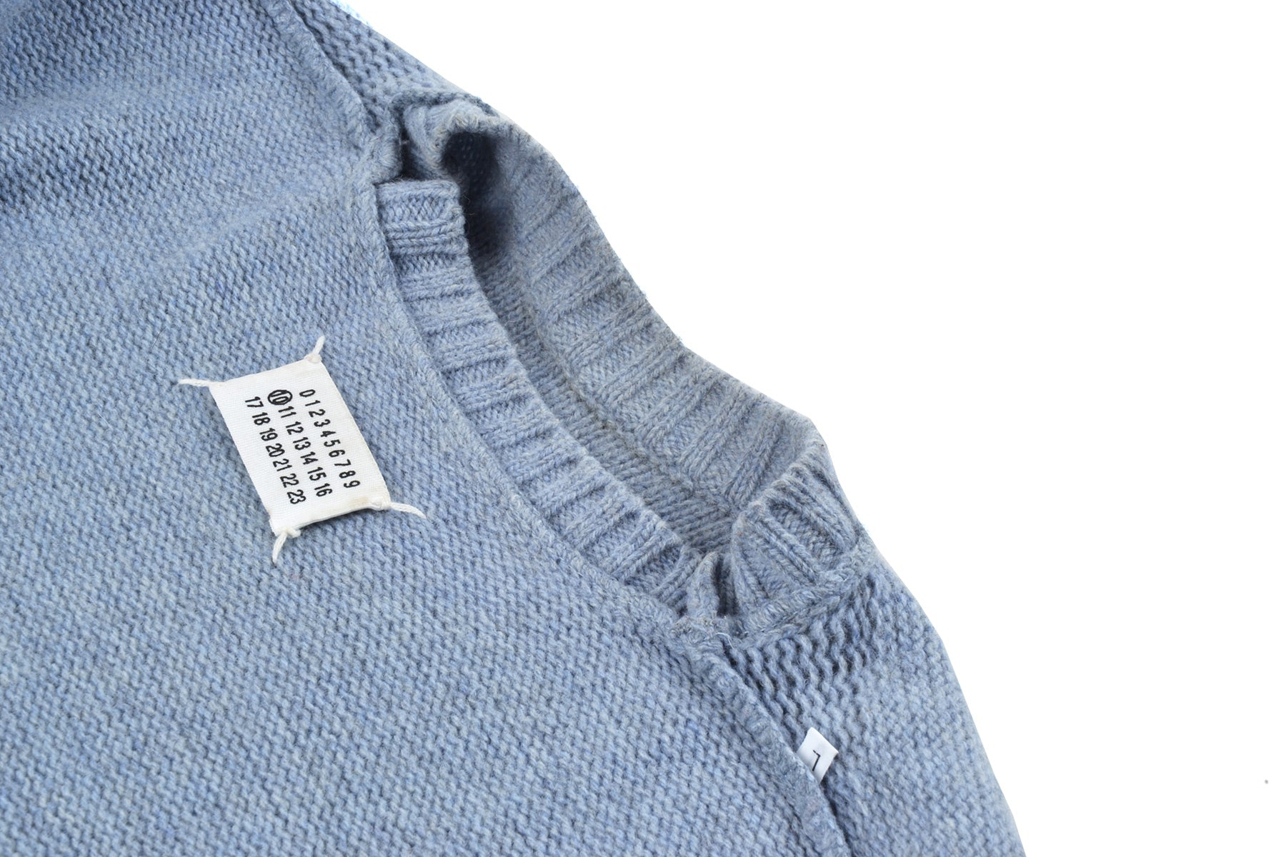 2001 A/W BLUE & GREY MELANGE CREWNECK WITH NECK DETAIL BY MISS DEANNA