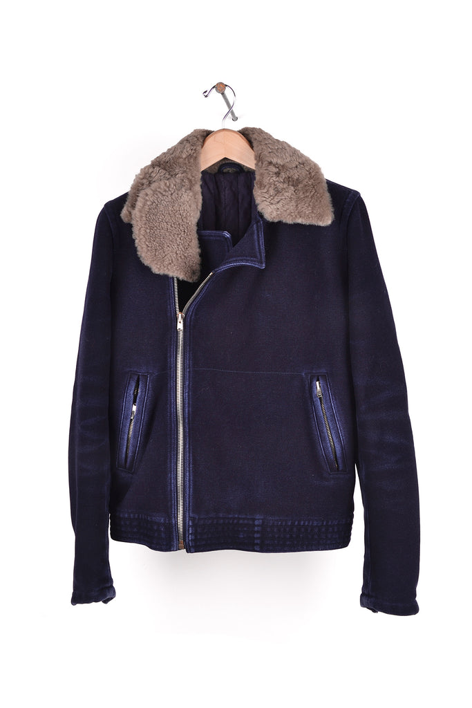 2006 A/W WASHED WOOL BIKER JACKET WITH SHEARLING COLLAR
