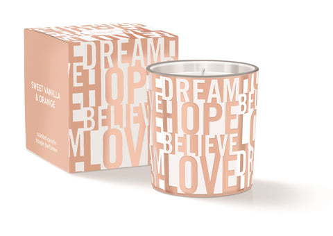 Dream Hope Believe Love Round Candle