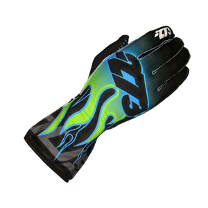 Load image into Gallery viewer, FLAME Black/Cyan/Fluo Green/Yellow GLOVE