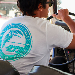 Load image into Gallery viewer, MANAUS Tee White/Cyan/Turquoise