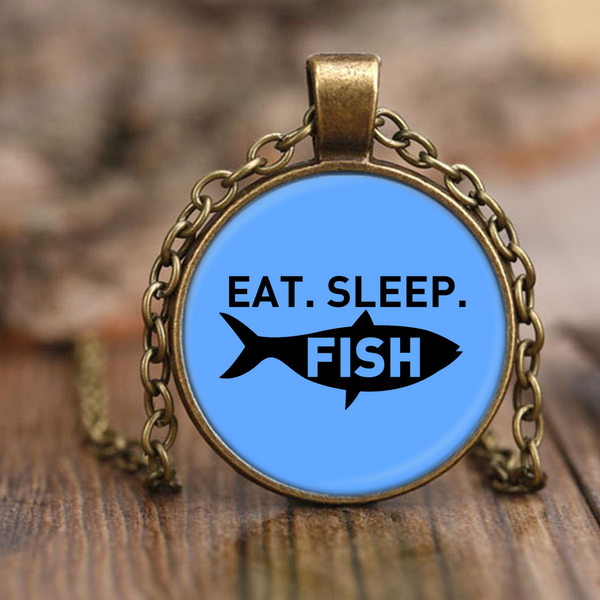 Eat Sleep Fish Antique Necklaces