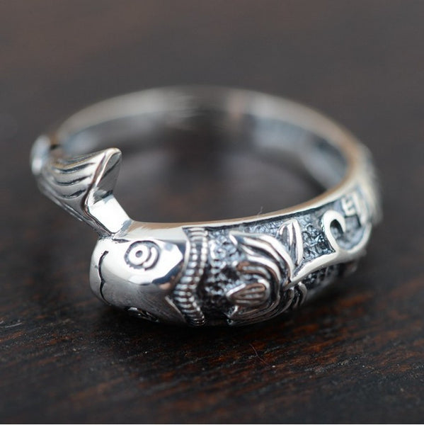 .925 Sterling Silver Classic Fish Ring