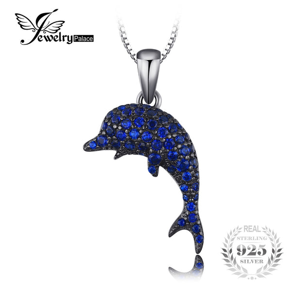 925 Sterling Silver 0.7ct Created Blue Spinel Fish Necklace