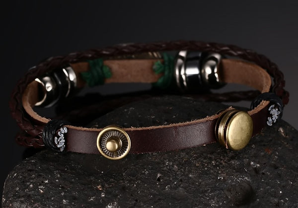 Mens Leather Rope Fish Bracelet